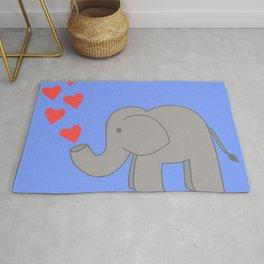 Dark Blue Love Elephant Rug
