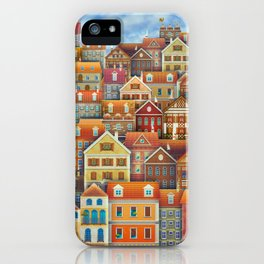 Illustration of  cute houses in sky iPhone Case