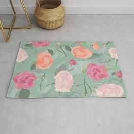 Pastel Pink Roses Pattern Design Rug