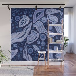 Doodle leaves and polka dots to holiday gifts - blue Wall Mural