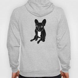 Cute brindle French Bulldog in black and white digital art Hoody