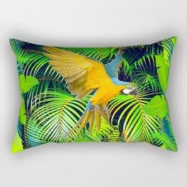 BLUE & GOLD MACAW JUNGLE  ART DESIGN Rectangular Pillow