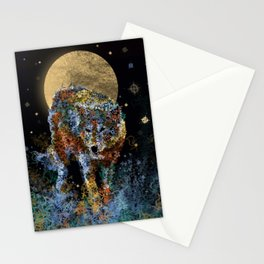 floral animals wolf and stars Stationery Cards