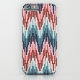 Modern ikat boho chevron red marine blue iPhone Case