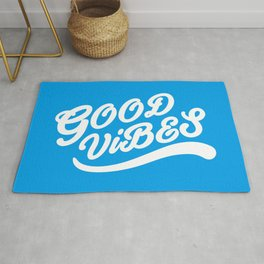 Good Vibes Happy Uplifting Design White And Blue Rug