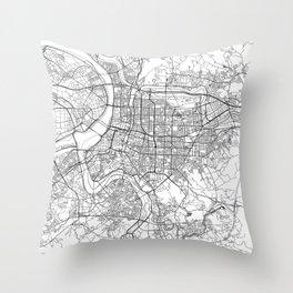 Taipei White Map Throw Pillow