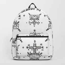Baron Samedi Voodoo Veve Symbols in White Backpack