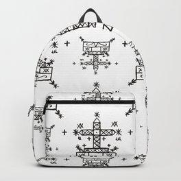Baron Samedi Voodoo Veve Symbols in White Backpack