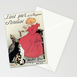Vintage Art nouveau French milk advertising, cats, girl Stationery Cards