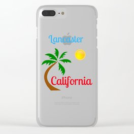Lancaster California Palm Tree and Sun Clear iPhone Case