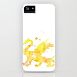 Yellow Dragon Watercolor Painting iPhone Case