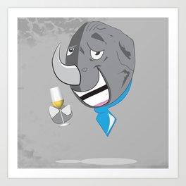 Wino The Rhino Art Print