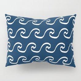 Nautical waves cute simple minimal basic ocean pattern navy nursery gender nuetral Pillow Sham