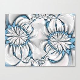 Silver and Blue Daisy Chain Canvas Print