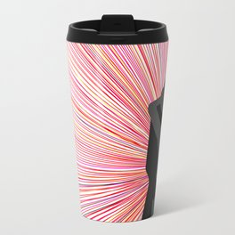 Red and Black Radiant Romantic Illustration with Embracing Silhouettes Travel Mug