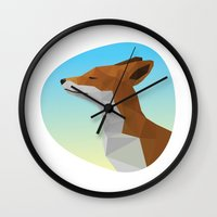 low poly Wall Clocks featuring Low-Poly fox by fortyfive