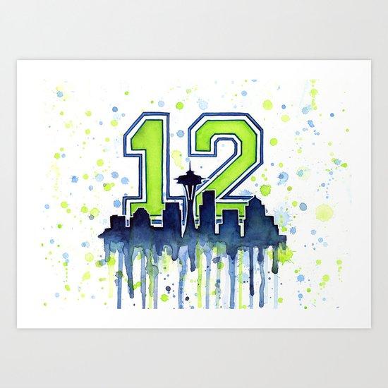 Hawks 12th Man Fan Art Seattle Space Needle Art Print