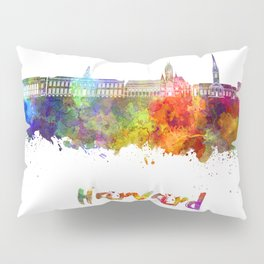 Harvard skyline in watercolor Pillow Sham