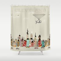 cleveland Shower Curtains featuring visit cleveland ohio by bri.buckley