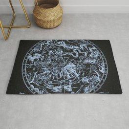 Ice on Black   Zodiac Skies & Astrological Ties Rug
