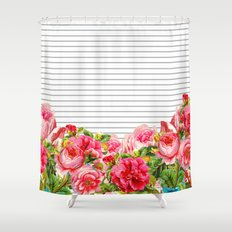 Floral Stripes Shower Curtain