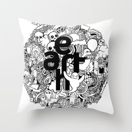 Earth with Art Throw Pillow
