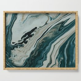 Tranquil Arctic Painting Marble Serving Tray