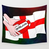 england Wall Tapestries featuring England Rugby Flag by mailboxdisco