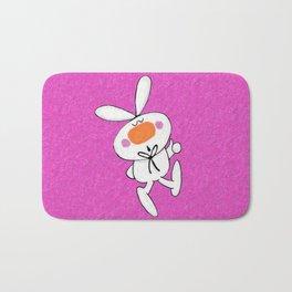 Happy White Cartoon Thumbs Up Bunny Rabbit  Bath Mat