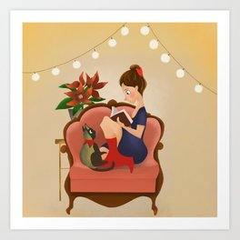 Girl with the book Art Print