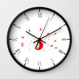 Red Bowling Pins and Ball Wall Clock