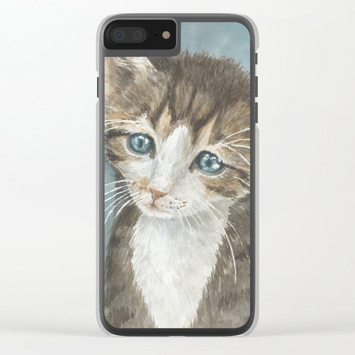 Kitten, watercolor potrait Clear iPhone Case