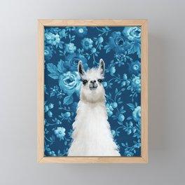 Blue Llama Painting Framed Mini Art Print