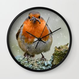 Chubby Winter Robin Wall Clock