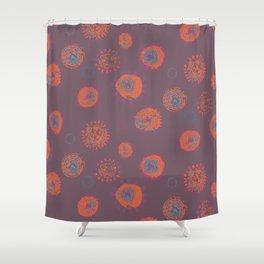 Hand Printed Circular Floral Shower Curtain