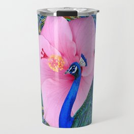BLUE PINK HIBISCUS FLOWERS & BLUE-GREEN PEACOCK Travel Mug