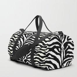 Wild Animal Print, Zebra in Black and White Duffle Bag