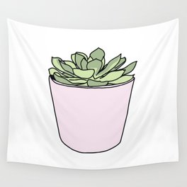 Green suculent in pink flowerpot Wall Tapestry