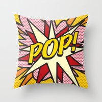 comic book Throw Pillows featuring Comic Book POP! by Thisisnotme
