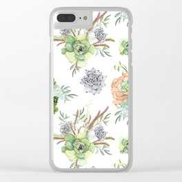 Succulents Mint Green Lavender Lilac Coral Violet Pattern Clear iPhone Case