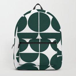 Mid Century Modern Geometric 04 Dark Green Backpack