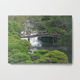 old wooden bridge in rural japan Metal Print