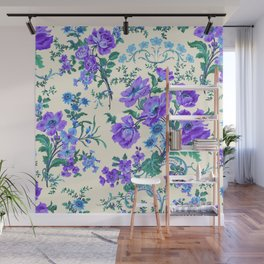 Teal, Blue, Green and Cream Floral Wall Mural