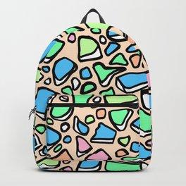 Sea Glass - Blues Aqua Green on Peach Backpack