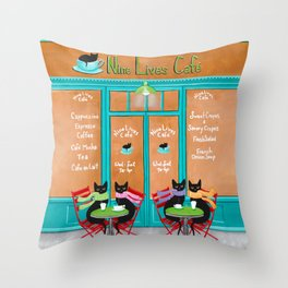 The Nine Lives Cat Cafe Throw Pillow