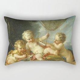 Francois Boucher - Putti As Fisherman Rectangular Pillow