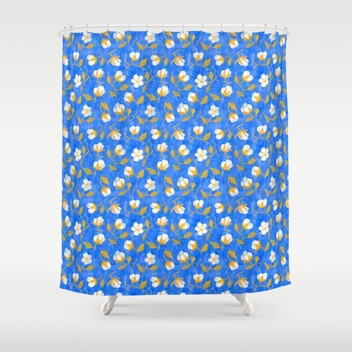 Painterly cotton flowers // in cobalt blue Shower Curtain