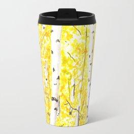 Yellow Aspen Trees Watercolor art Painting Yellow Birches wall hanging wall Art Travel Mug