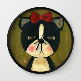 Portrait Of A Boston Terrier Dog Wall Clock