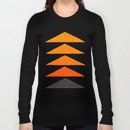 Vintage Scandinavian Orange Geometric Triangle Pattern Long Sleeve T-shirt
